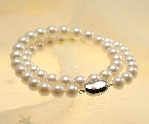 【真珠の本場伊勢志摩よりお届け】優しいピンクグリーン♪8.0-9.0mmあこや本真珠パールネックレス【nc0617】