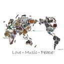 Love×music=Peace Tシャツ オリジナル イラストレーターThirteen 手作り 平和好き 音楽好き 楽器好き