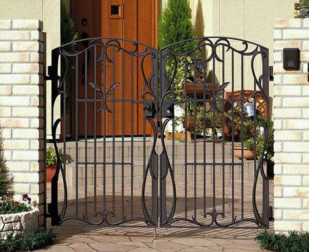 門扉 鋳物 フェアル1型 両開き 門柱タイプ 0812 南欧風 アイアン 三協立山:大和住建