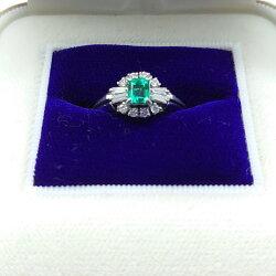 【中古】Pm900プラチナ4.97g指輪エメラルドダイヤモンドデザインリングY00226