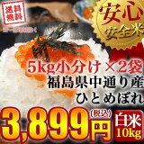 【送料無料】平成30年産 福島県中通り産 ひとめぼれ 白米:10kg(5kg×2個)