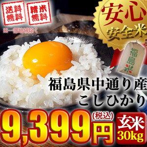 【送料無料】平成27年産 福島県中通り産 コシヒカリ 玄米:30kg(白米:約27kg)