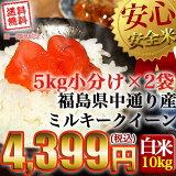 【送料無料】平成29年産 福島県中通り産 ミルキークイーン 白米:10kg(5kg×2個)