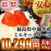【送料無料】平成28年産 福島県中通り産 ミルキークイーン 玄米:30kg(白米:約27kg)