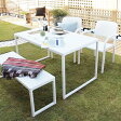 タカショー ガーデンテーブル4点セット 「庭座 シンプルスクエアテーブルセット(ベンチ&アームチェアー)」 ≪テーブル1台+ベンチ1脚+チェアー2脚≫ 高級人工ラタンファニチャー ロムガーデンシリーズ