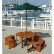 タカショー ガーデンテーブル6点セット 「ウッディーガーデン 六角テーブル&ベンチセット パラソル付き」 ≪テーブル1台+ベンチ3脚+パラソル1本+パラソルベース1台≫