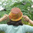 【メール便可】モン族 帽子 古布 刺繍 リメイク ハット ポークパイハット カンカン帽