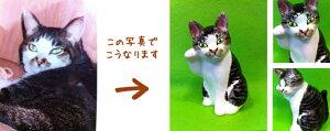 写真から作るマイ招き猫江戸猫(小)右手上げ