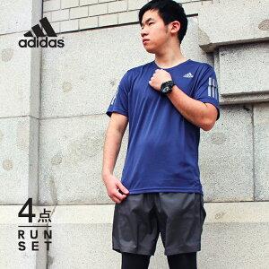アディダス ランニングウェア メンズ セット 4点 半袖Tシャツ パンツ タイツ ソックス 初心者 上下 男性 福袋 一式 春