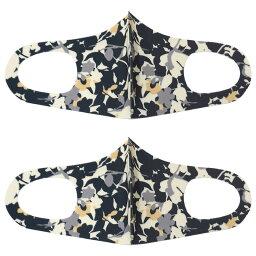 ファッション グッズ デザイナーズマスク2枚SET M〜Lサイズ/FLOWER NAVY( hw706-7)アパレル マスク