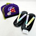 七五三 七歳 女児 草履バッグセット 巾着 21cm UNSODO 日本製 紫×黒 新品(株)安田屋 j654815211