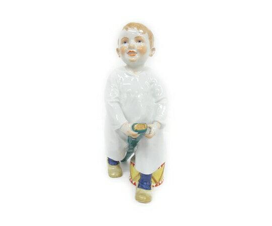 【中古】  マイセン ヘンチェル人形 棒遊びする子供と太鼓 フィギュリン 陶人形 アンティーク T2465611:ReRe(安く買えるドットコム)
