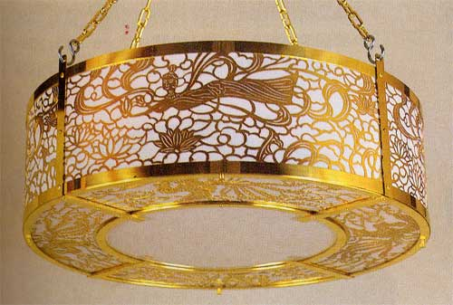 客殿用丸型照明灯60cm 真鍮製金メッキ:仏壇仏具墓石やすらぎ