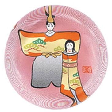 【ミニひな人形】ガラス箸置き(立雛・松)