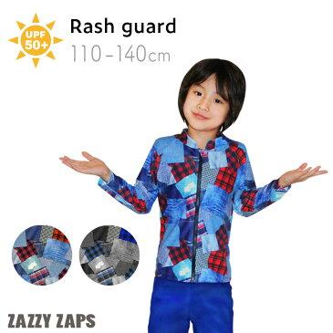 ザジーザップス Zazzy Zaps スイムウェア ラッシュパーカー ラッシュガード デニム水着 長袖 前開き(100/110/120/130/140cm)男の子 女の子 tcpt