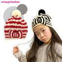 リボン ボーダー ニット帽 (M 52-56cm) カッコいい おしゃれ 防寒 女児 ガールズ Girlsキッズ 子供 オレンジボンボン OrangeBonbon