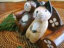 楽天アジアン雑貨 バリ ♪ナチュラルウッド アニマル×2匹とソファSET♪ 【ヤヤパプス】 置物 オブジェ オーナメント ネコ カエル ウサギ グッズ 結婚祝い 木製 エスニック リゾート