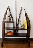 アジアン家具収納ラックディスプレイラック木製チークチーク材とヤシリーフのナチュラルラック(M)♪【送料無料】【P0620】