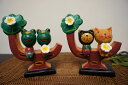 楽天アジアン バリ 猫 雑貨 カエルグッズ 置物 ♪木に座る仲良しカップル(ネコorカエル)♪ 【ヤヤパプス】 オブジェ オーナメント ネコ 結婚祝い 木製 エスニック リゾート