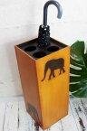 収納家具 玄関収納 傘立て おしゃれ (アニマル彫刻傘立て) アジアン雑貨 バリ ごみ箱 木製 エスニック リゾート