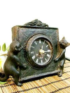 アジアン ブロンズ 置き時計 テーブル クロック エスニック