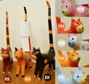 アジアン雑貨 バリ 猫 トイレットペーパー 収納 ♪しっぽネコのトイレットペーパーホルダー(各8色)♪ 【送料無料】【ヤヤパプス】 エスニック ねこ 置物 オブジェ グッズ 木製 リゾート
