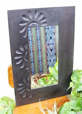 アジアン雑貨 バリ (マタハリ彫刻ミラーL(ダーク)) おしゃれ インテリア エスニック 壁掛けミラー 鏡 スタンドミラー リゾート