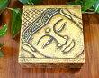 アジアン雑貨バリ♪ブッダのゴールドBOX(正方形)S♪おしゃれインテリアエスニック小物入れ木箱エスニック