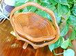 アジアン雑貨バリ♪ナチュラルウッドバスケット(フラワー)♪おしゃれインテリアエスニック木製折り畳み小物入