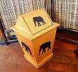 アジアン雑貨バリ♪蓋付きアニマルダストボックス(ゾウ)♪【送料無料】おしゃれインテリアエスニックダストボックスゾウゴミ箱