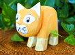 アジアン雑貨バリ♪パステルウッドネコ(オレンジ)♪おしゃれインテリアエスニック木彫り猫オブジェ