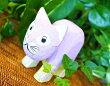 アジアン雑貨バリ♪パステルウッドネコ(ラベンダー)♪おしゃれインテリアエスニック木彫り猫オブジェ