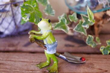 アジアン バリ 雑貨 ♪スコップ持ちカエルwithてんとう虫♪ おしゃれ インテリア エスニック 縁起物 風水 オブジェ