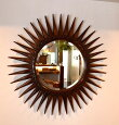アジアンバリ雑貨♪マタハリ彫刻ミラー80cm♪【送料無料】おしゃれインテリアエスニック鏡太陽の形壁掛け