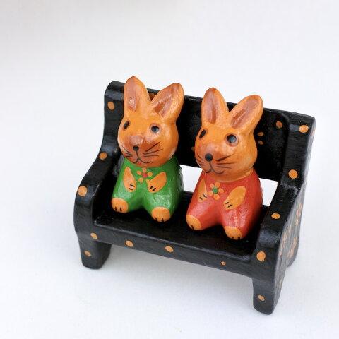 アジアン バリ 雑貨 ♪ペアウサギベンチ♪ インテリア おしゃれ エスニック 置き物 オブジェ アニマル 動物
