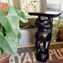 【8月中旬入荷予定】インテリア小物 置物 おしゃれ かわいい 花台 カエルグッズ (ブラウンカエルの花台50cm) アジアン雑貨 バリ フラワースタンド オブジェ 木製 エスニック リゾート