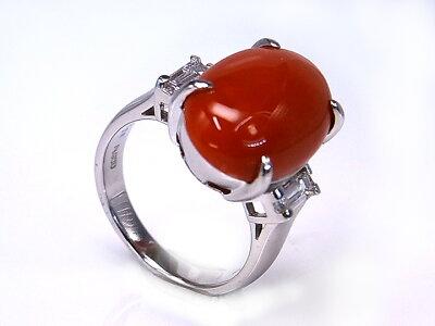血赤色赤珊瑚約8ctのPTリングサンゴ・コーラル色むらなしの血赤色/Ycollectionワイコレクション/