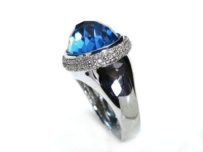 ブルートパーズのドームに上質ダイヤパヴェブランドライクなデザイン力が魅力のK18WGリング・指輪1点もの/Ycollectionワイコレクション/送料無料
