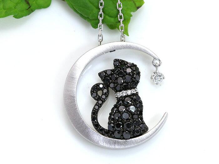 ブラックダイヤモンドパヴェが煌く黒猫ちゃん 月(ムーン)の上で愛らしい後ろ姿を見せるK18WGネックレス (各地金素材対応可能)受注品/Ycollectionワイコレクション/送料無料