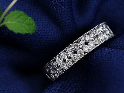 上質ダイヤモンド0.56カラットが煌めく2重奏の瞬き・PTリング指輪普段使いしやすいフラット・ハーフエタニティデザイン(K18/WG各種素材対応可)受注品/Ycollectionワイコレクション/送料無料