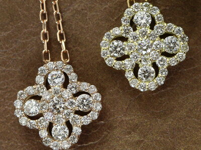 クローバーデザイン・ダイヤモンド0.3ctK18PG(YG)ネックレス無色透明度の高いダイヤ受注品/Ycollectionワイコレクション/送料無料