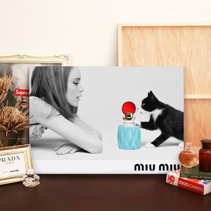 【 お部屋のイメチェン!!+ 送料無料 】【 Grace cat Art 】サイズが選べるキャンバスパネル アート 絵画 / アートパネル / アートポスター / グラフィック アート / インテリア アート / ギフト【 オマージュモチーフ:MIU MIU / ミュウミュウ 】