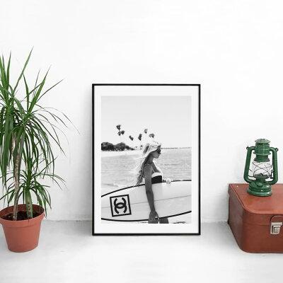 【GracecatArt】サイズが選べるアートポスター+アルミスキニーフレーム額装セット/アートパネル/キャンバスパネルアート/グラフィックアート/インテリアアート/パロディアート/ギフトグレイスキャット【オマージュモチーフ:CHANEL/シャネル】