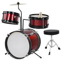 Yescomキッズドラムセット子供向けドラムバスドラムスネアドラムタムタムシンバルドラムスツールチューニングキーバスドラムペダルドラムスティックスタンド付レッド
