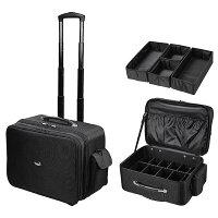 【送料無料】メイクボックスプロ用キャリーケース4WAY仕切りソフトキャリーバッグスーツケース機内持ち込み大容量キャスター付きコスメボックスキャリーバック黒