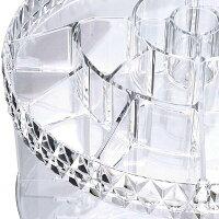 Yescomコスメボックス360度回転式コスメ収納6層ストレージタワーラックアクリルケースコスメ収納アクリル化粧品収納メイク収納口紅化粧品回転ラックメイクタワーダイヤモンド模様透明クリア