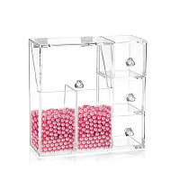 Yescom化粧収納ボックスメイクケース真珠付き多機能コスメスタンド透明アクリルケース