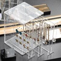 Yescomスライド式ピアスケースアクリル縦型3列アクセサリーケースピアスネックレスイヤリング収納ボックスジュエリーアクセサリーボックスクリア