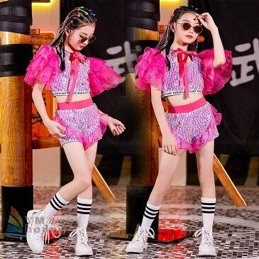 【送料無料】キッズダンス衣装 へそ出し ジャズダンス チア チアガール スパンコール キラキラ トップス ショートパンツ 韓国 応援団 セットアップ 大量注文対応