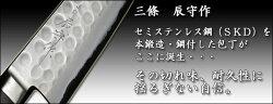 三條辰守作ステンレス槌目SKD牛刀包丁180mm吉金刃物四代目山本和臣作